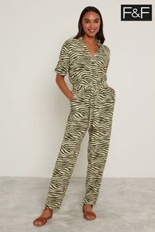 F&F Khaki Glam Utility Zebra Boilersuit