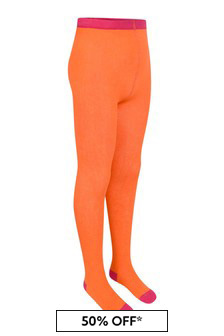 Girls Orange Cotton Tights
