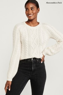 Abercrombie & Fitch Cream Cable Sweater