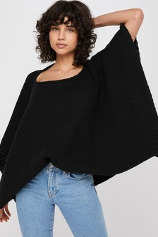 Accessorize Black Boxy Button Poncho