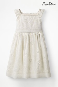 Boden Ivory Textured Broderie Ruffle Dress