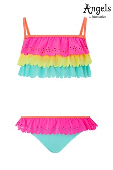 Angels by Accessorize Pink Laser Cut Ruffle Bikini