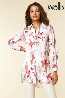 Wallis Cream Pink Longline Lily Shirt