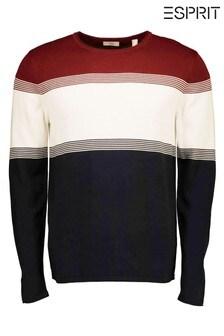 Esprit Red Men's Stripe Crew Neck Sweater