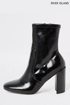 River Island Black Patent Sock Boots
