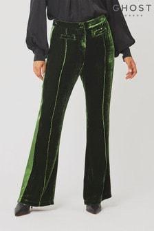 Ghost London Emily Forest Green Velvet Trousers