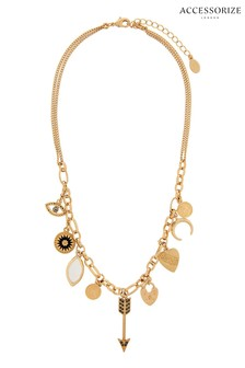 Accessorize Gold Tone Ivy League Charmy Necklace