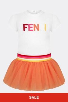 Fendi Kids Baby Girls White Cotton Dress