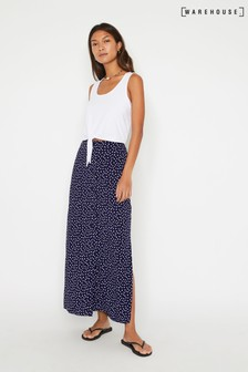 Warehouse Blue Dash Print Maxi Skirt