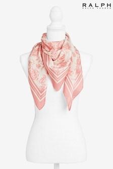 Ralph Lauren Pink Floral Logo Silk Square Scarf