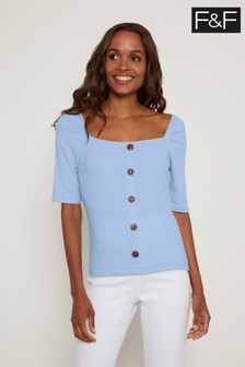 F&F Blue Square Neck Button Through Top