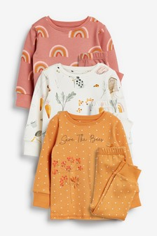 3 Pack Save The Bees/Rainbow Snuggle Pyjamas (9mths-8yrs)