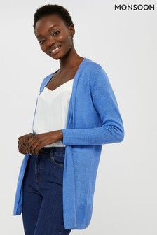 Monsoon Blue Emilia 100% Linen Cardigan