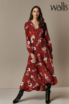 Wallis Red Animal Floral Print Wrap Dress