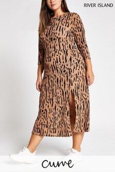 River Island Curve Tally Printed Midi Dress