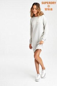 Superdry Grey Appliqué Sweat Dress