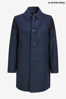 Niebieski płaszcz z domieszką wełny G-Star