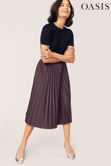 Oasis Brown Faux Leather Pleat Skirt