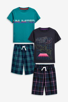 2 Pack Printed Check Short Pyjamas (3-16yrs)
