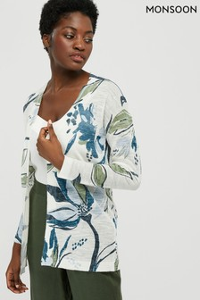 Monsoon Cream Tilda Print Linen Blend Cardigan