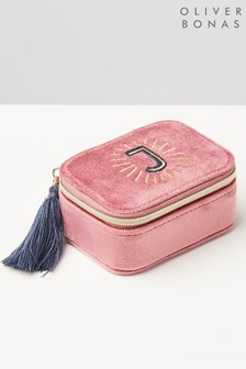 Oliver Bonas Sol Pink Velvet Alphabet J Travel Jewellery Box