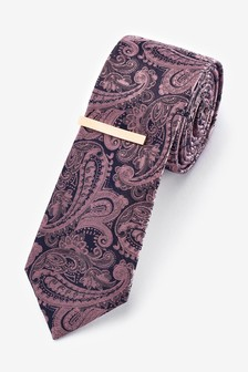 Pink Paisley Pattern Tie With Tie Clip