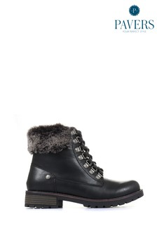 Pavers Black Ladies Lace-Up Ankle Boots