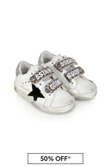 Kids White Leather & Glitter Old School Trainers