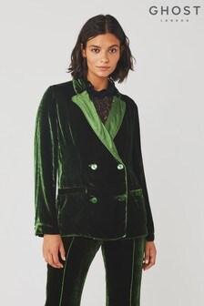 Ghost London Darlene Forest Green Velvet Jacket