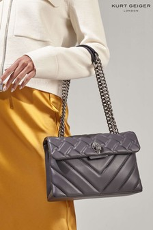 Kurt Geiger London Grey Leather Kensington Cross Body Bag