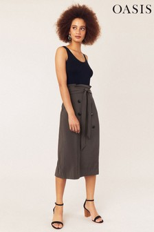 Oasis Khaki Belted Button Skirt