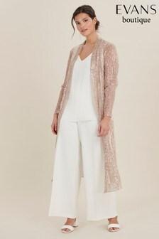 Evans Curve Blush Sequin Longline Kimono