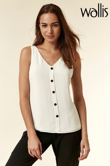 Wallis Cream Ivory Button Through Camisole Shirt