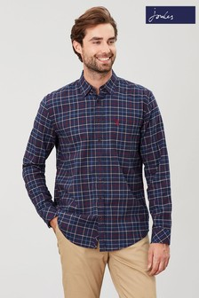 Joules Brown Welford Brushed Classic Long Sleeve Shirt