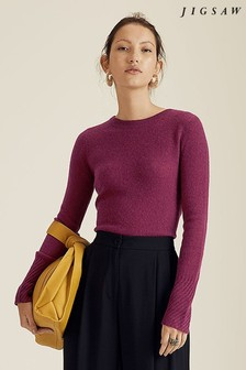 Jigsaw Purple Cloud Cashmere Crew