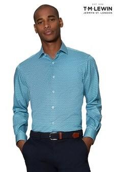 T.M. Lewin Teal Pine Print Slim Fit Single Cuff Shirt