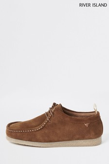 River Island Brown Rolly Leather Apron Moccasins