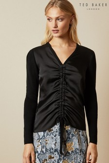 Ted Baker Black Ruched Detail Long Sleeve Jumper
