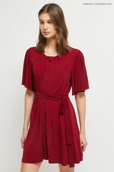French Connection Red Serafina Slinky Jersey Belted Dress