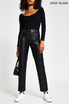 River Island Black Pu Straight Leg Fitted Trousers