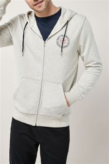 Chest Print Zip Through Hoody