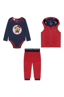 Baby Boys Red & Navy Trousers Set (3 Piece)