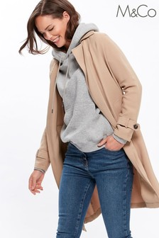 M&Co Natural Soft Drape Trench Coat