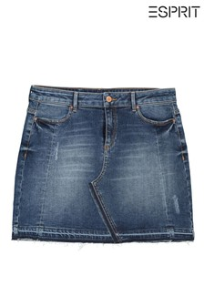 Esprit Mini Denim Skirt With Piping Detail