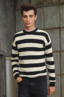 Horizontal Stripe Crew Neck Jumper