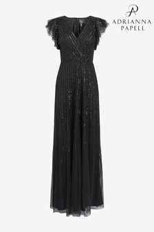 Adrianna Papell Black Beaded Flutter Sleeve Gown