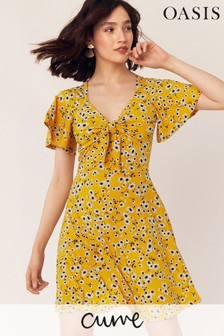 Oasis Curve Yellow Floral Print Dress