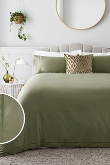 Olive 300 Thread Count 100% Cotton Sateen Collection Luxe Duvet Cover And Pillowcase Set