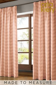 Jacquard Stem Tea Rose Pink Made To Measure Eyelet Curtains by Orla Kiely