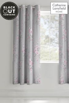 Canterbury Floral Lined Eyelet Curtains by Catherine Lansfield